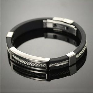 Other - Men's Stainless Steel Bracelet Black & Silver
